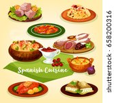 spanish cuisine meat and fish... | Shutterstock .eps vector #658200316