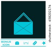 mail icon flat. blue pictogram...