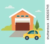 garage icon  flat  eps 8  no... | Shutterstock .eps vector #658203745