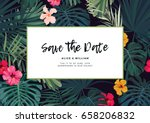 tropical vector wedding... | Shutterstock .eps vector #658206832