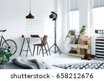 modern minimalistic home office ... | Shutterstock . vector #658212676