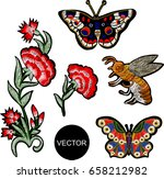 bee and flowers embroidery.... | Shutterstock .eps vector #658212982