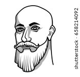 bald man with mustache and beard | Shutterstock .eps vector #658214092