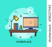 desk with personal computer ... | Shutterstock .eps vector #658227442