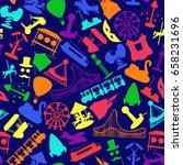 amusement park rides seamless... | Shutterstock .eps vector #658231696