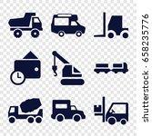 truck icons set. set of 9 truck ... | Shutterstock .eps vector #658235776