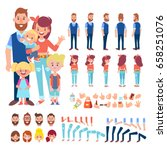 Happy Family Characters - mom, dad and children. Front, side, back view animated characters. Cartoon style, flat vector illustration. | Shutterstock vector #658251076