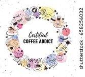 certified coffee addict concept ... | Shutterstock .eps vector #658256032