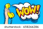 wow word bubble in pop art... | Shutterstock .eps vector #658266286