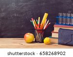 back to school background with... | Shutterstock . vector #658268902