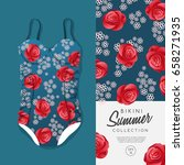 woman swimsuit with red rose...   Shutterstock .eps vector #658271935