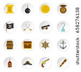 pirate icons set in flat style... | Shutterstock .eps vector #658276138