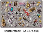 set of music cartoon stickers.... | Shutterstock .eps vector #658276558