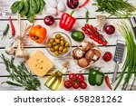 variety of vegetables for pizza.... | Shutterstock . vector #658281262
