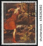 Small photo of RUSSIA KALININGRAD, 19 APRIL 2017: stamp printed by Paraguay, shows Painting Death of Actaeon by Titian, circa 1989