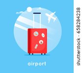 travel suitcase at the airport. ... | Shutterstock .eps vector #658284238