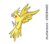 yellow cockatiel flying vector... | Shutterstock .eps vector #658284682