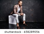 portrait of handsome fashion... | Shutterstock . vector #658289056