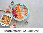 healthy breakfast smoothie... | Shutterstock . vector #658301992