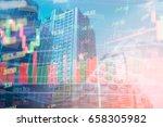 double exposure of set coin on... | Shutterstock . vector #658305982