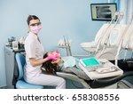 female dentist with dental... | Shutterstock . vector #658308556