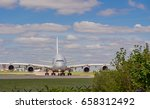 Small photo of Ringway, Manchester, Gtr Manchester, UK April 23rd 2017. Large aeroplane preparing for take off at Manchester Airport, Ringway, Gtr Manchester, UK