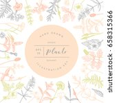 vector hand drawn floral frame... | Shutterstock .eps vector #658315366