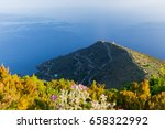Small photo of Pollara view in Salina Eolian island from Porri mountain in early morning in summer
