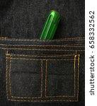 handyman tool kit in bag jeans. | Shutterstock . vector #658332562