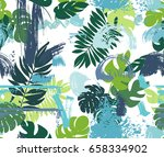 seamless pattern with tropical... | Shutterstock .eps vector #658334902