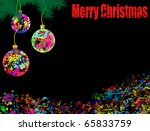 Abstract  background with balls, Christmas tree and colored grunge  ink - stock vector