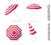 beach sun umbrellas collection. ... | Shutterstock . vector #658339432