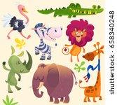 Stock vector cartoon african savanna animal set set of cartoon jungle animals flat vector illustration 658340248