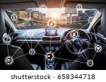 vehicle cockpit and screen  car ... | Shutterstock . vector #658344718