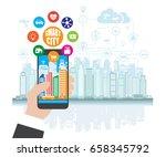 smartphone in hand helps to... | Shutterstock .eps vector #658345792
