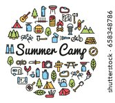 summer camp word with icons  ... | Shutterstock .eps vector #658348786