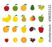 set of fruit and vegetables ... | Shutterstock .eps vector #658352122