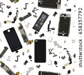 seamless disassembled phone... | Shutterstock .eps vector #658357792