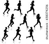 set of silhouettes. runners on... | Shutterstock . vector #658374256