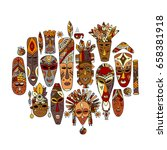 tribal mask ethnic set  sketch... | Shutterstock .eps vector #658381918