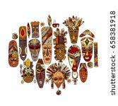 tribal mask ethnic set  sketch... | Shutterstock .eps vector #658381918