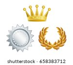 set of crown  medal and wing | Shutterstock .eps vector #658383712
