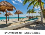 tropical beach. coconut palms... | Shutterstock . vector #658392088