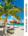 tropical beach. coconut palms... | Shutterstock . vector #658392106