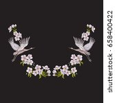 embroidery neckline with... | Shutterstock .eps vector #658400422