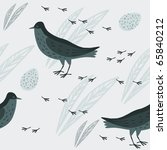 seamless pattern with birds ... | Shutterstock .eps vector #65840212