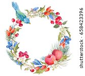 watercolor round christmas... | Shutterstock . vector #658423396
