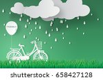 paper art of bicycle in green... | Shutterstock .eps vector #658427128