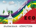 paper art of cityscape with... | Shutterstock .eps vector #658427206