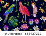 ibis and parrots n the blooming ... | Shutterstock .eps vector #658427212